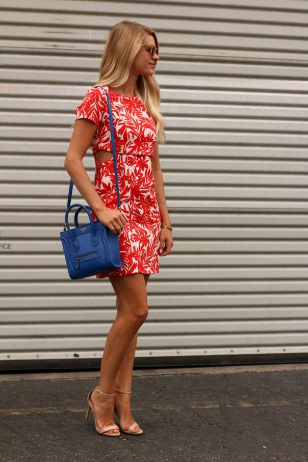 red palm print dress