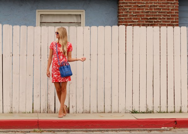 red palm print dress