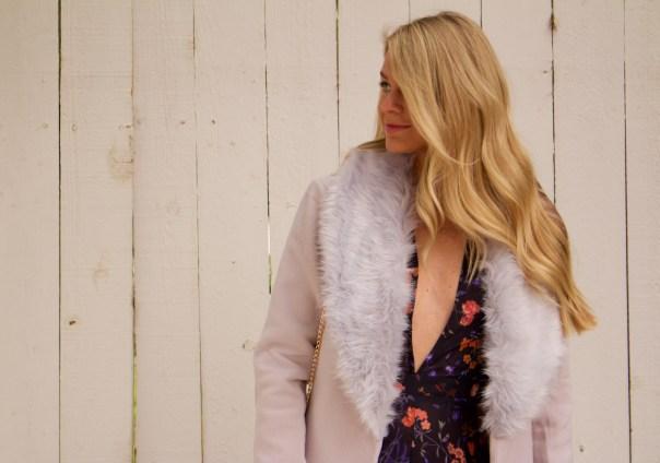 jumpsuit and fur coat