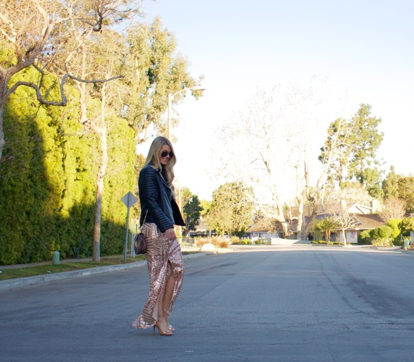 rose gold sequin maxi skirt