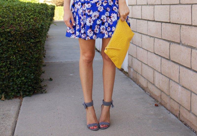 blue drop-waist dress
