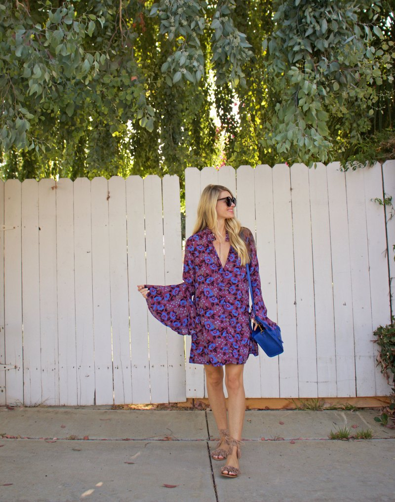 purple bell sleeves dress