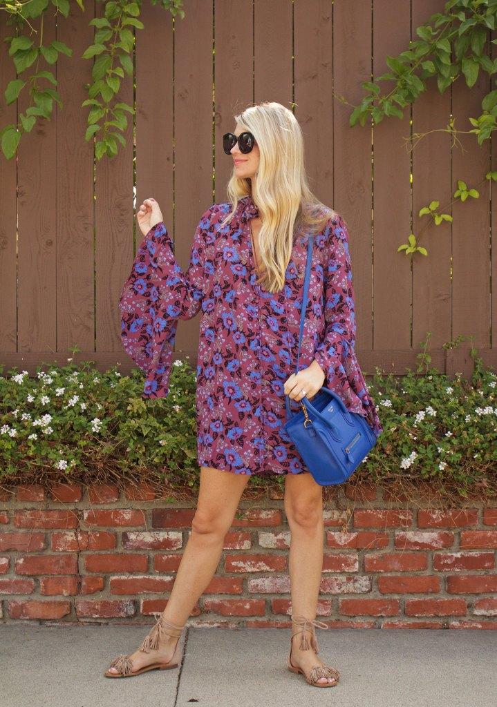 purple bell sleeves dress