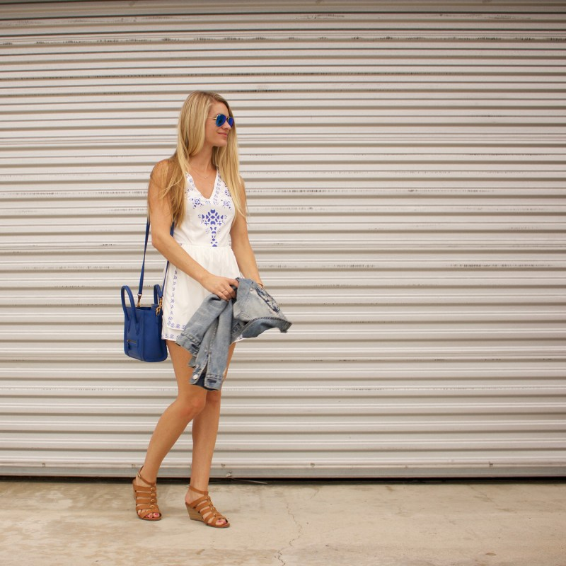 blue and white skort romper