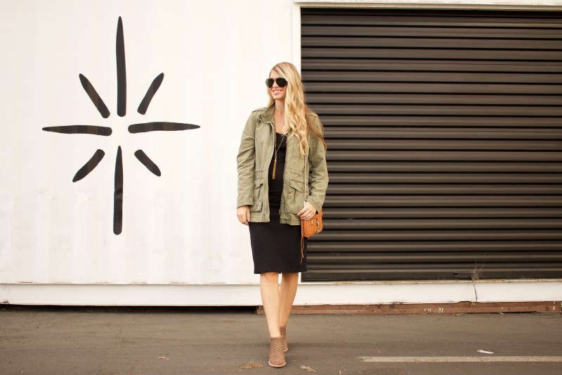 black midi dress and army jacket