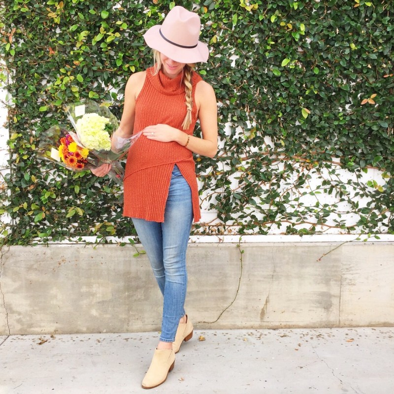 sleeveless sweater and booties