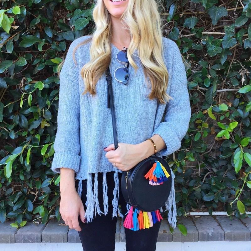 tassel sweater and bag