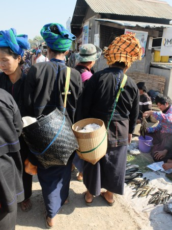Traditional baskets - to hold the ubiquitous plastic bags.