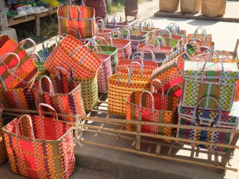 These bags are everywhere, come in a variety of sizes and are made of recycled packing tape.