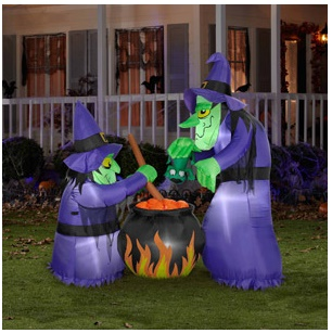 Inflatable Halloween Decorations - Gemmy Witches with Cauldron