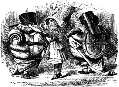 'D I lc vri pêl?' sd Twīdldum, cmñ p t hv hiz helmit tîd on. (H CWLD it a helmit, ɖo it srtnli lct mč mr lîc a swspn.)
