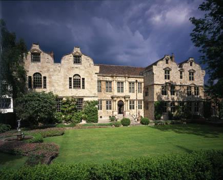 This is a view of the Treasurer's House, York, taken from the (south) Front of the house, viewed from the Western corner of the garden