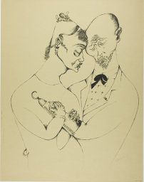 Heinrich Hoerle, 1895-1936. The Married Couple, from Krüppel, 1920. Lithograph in black on tan wove paper, 517 x 414 mm (image); 591 x 460 mm (sheet). Margaret Fisher Endowment Fund