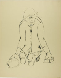Heinrich Hoerle, 1895-1936, The Breadwinner, from Krüppel, 1920. Lithograph in black on tan wove paper, 465 x 355 mm (image); 590 x 460 mm (sheet). Margaret Fisher Endowment Fund