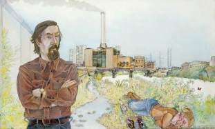 Archie Hind (1928–2008), and the Dalmarnock Power Station. Date painted: 1977. Acrylic, pencil & ink on board, 54.5 x 89 cm. Collection: Glasgow Museums