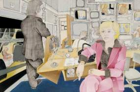 Fidelma Cook (b.1953), in the BBC News Gallery. Date painted: 1977. Acrylic, pencil & ink on paper, 52.5 x 77.4 cm. Collection: Glasgow Museums