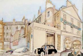 End of Arcadia Street. Date painted: 1977. Acrylic on paper, 71.5 x 103.4 cm. Collection: Glasgow Museums