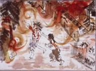 Yoshiko Michitsuji, aged 48 at the time of drawing. I ran towards my house through a sea of flames (Hibakusha Works: Hiroshima Peace Memorial Museum)