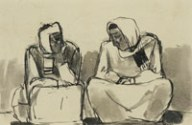 Two Seated Figures, by Josef Herman