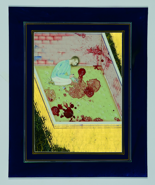 Opening word of this new scripture (2013), Gouache and gold leaf on wasli paper, 27 × 22cm. Courtesy Corvi-Mora, London