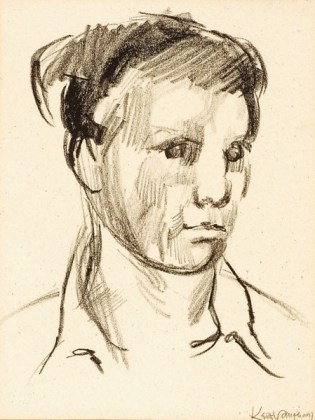 Keith Vaughan. Self-Portrait , c.1951, charcoal on paper, 29 x 22 cm 11 3/8 x 8 5/8 in