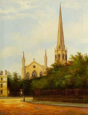 """""""Christ Church (Greyfriars), Coventry"""" by Annie Laurie Gilbert (attributed to). Oil on canvas. 25 x 19.5 cm. Herbert Art Gallery & Museum"""