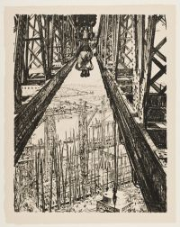 BONE, David Muirhead. A shipyard seen from a big crane (1917)