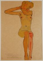 'Seated Female Nude with Raised Arm (Gertrude Schiele)', 1910. Wien Museum, Vienna