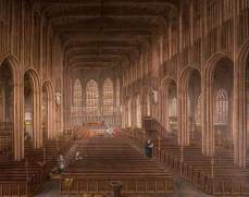 """Interior of St Michael's Church, Coventry"" by David Gee. Date painted – 1862. Oil on canvas. 112 x 125.5 cm. Herbert Art Gallery & Museum"