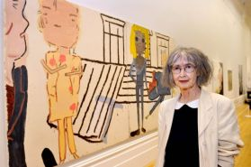 John Moores Painting Prize 2014 winner Rose Wylie with her work PV Windows and Floorboards