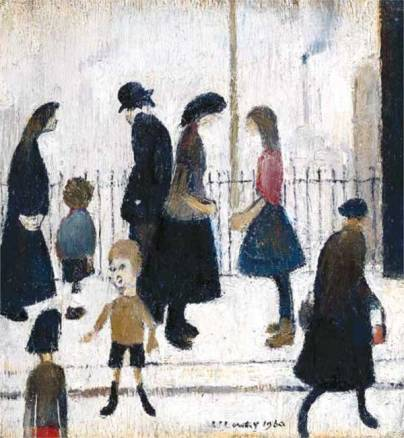 Figures in a Street by L S Lowry (1960)