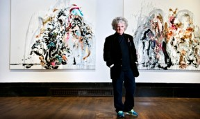 Maggi Hambling with two Walls of Water paintings. Photo: Linda Nylind for the Guardian