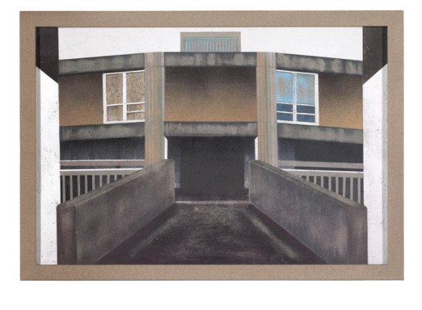 Mandy Payne. BRUTAL. 2013. Aerosol spray on concrete with wooden frame. 32.7 x 46.5 cm