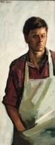Peter Coker. Self-Portrait , 1966, oil on board, 37.5 x 14.5 cm 14 3/4 x 5 3/4 in
