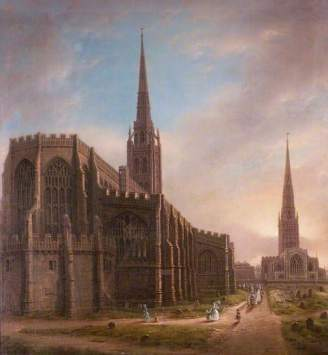 """St Michael's and Holy Trinity Churches from the North East, Coventry"" by David Gee. Date painted – 1849. Oil on canvas. 80.5 x 72.5 cm. Herbert Art Gallery & Museum"