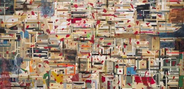 Shinro Ohtake, 'Time Memory 28' (detail), 2014. 220.5 x 300.5 x 10.5 cm. Courtesy of the artist and Take Ninagawa, Tokyo