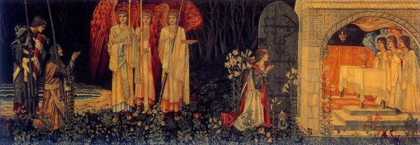 The Attainment: The Vision of the Holy Grail to Sir Galahad, Sir Bors, and Sir Perceval (also known as The Achievement of the Grail or The Achievement of Sir Galahad, accompanied by Sir Bors, and Sir Perceval). , Number 6 of the Holy Grail tapestries woven by Morris & Co. 1891-94 for Stanmore Hall. This version woven by Morris & Co. for Lawrence Hodson of Compton Hall 1895-96. Wool and silk on cotton warp. Birmingham Museum and Art Gallery.