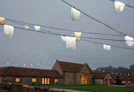 Hiplights (or Enlighted Hips), 2011. Outdoor installation; used and washed underpants, steel cables and custom-made LED lamps. Dimensions variable