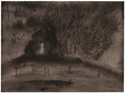 House with tree, 2008-9. Watercolour on paper, 18 x 21 inches