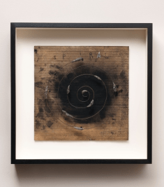 Spiral, 2012. Mixed media on cardboard, 17 1/2 x 17 1/4 x 3 inches