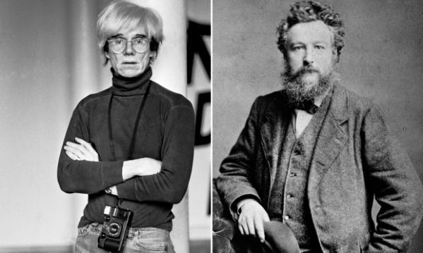 Andy Warhol and William Morris. Photograph: Getty