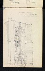 North-western perspective of lowest stage of west tower, St James, Chipping Campden, Gloucestershire 1894