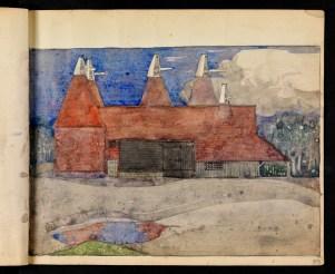 Oast houses, Chiddingstone, Kent (sketchbook)