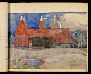 Oast houses, Chiddingstone, Kent (sketchbook)
