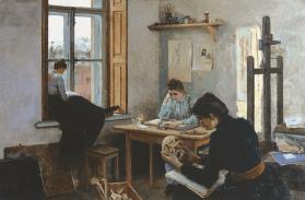 Студентки-анатомички / Anatomy Students. 1880s. Oil on canvas, 81.5 x 124 cm