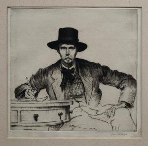 'Self-portrait of the artist,' 1915, drypoint, 22.5 x 23.5 cm