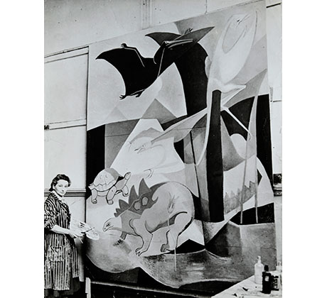 Photograph of Dorothy Annan working on her mural, 'The History of Flight', for Hatfield Junior School, Hertfordshire, 1940s Courtesy of the Estate of Dorothy Annan and Trevor Tennant/Leeds Museums & Galleries (Henry Moore Institute Archive)