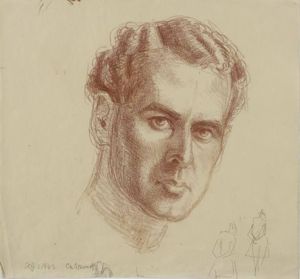 Self-portrait, c. 1942. Chalk on paper.