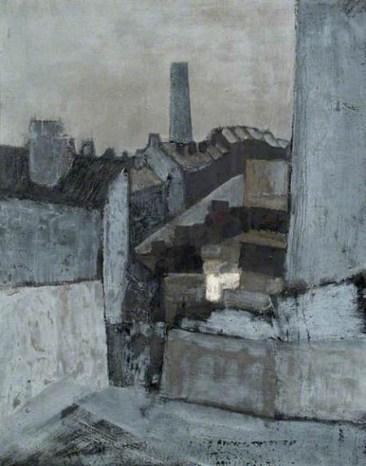 John Hoyland: Backyards, Sheffield, 1958, oil on canvas, 36 x 28 inches (91.5 x 71 cm)