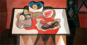 Robert MacBryde: Red and Black Still Life. Oil on canvas, 90 x 156 cm. Collection: Collection of Original Works for Children in Cambridgeshire
